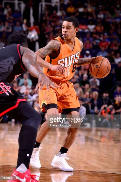 Tyler Ulis of the Phoenix Suns handles the ball during the game against the Houston Rockets on April 2 2017 at US Airways Center in Phoenix Arizona...