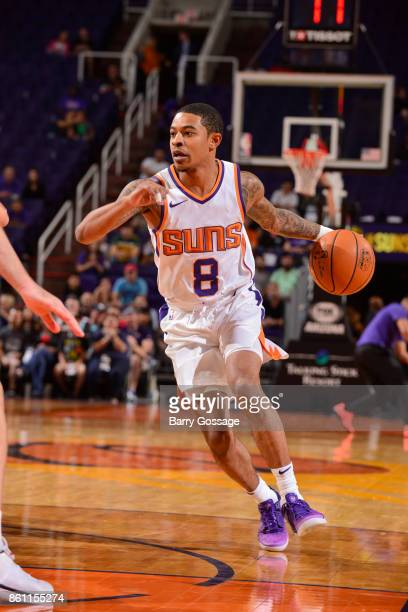 Tyler Ulis of the Phoenix Suns handles the ball during the preseason game against the Brisbane Bullets on October 13 2017 at Talking Stick Resort...