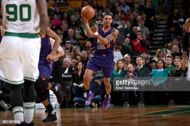 Tyler Ulis of the Phoenix Suns passes the ball against the Boston Celtics on March 24 2017 at the TD Garden in Boston Massachusetts NOTE TO USER User...