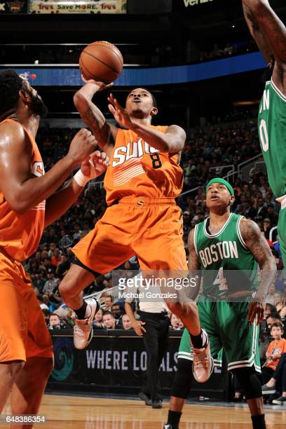 Tyler Ulis of the Phoenix Suns shoots the ball during the game against the Boston Celtics on March 5 2017 at US Airways Center in Phoenix Arizona...