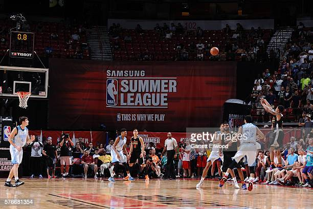 Tyler Ulis of the Phoenix Suns shoots the game winning basket during the game against the Denver Nuggets during the 2016 NBA Las Vegas Summer League...