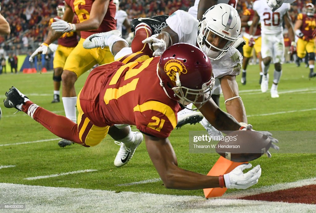 Tyler Vaughns #21 of the USC Trojans dives into the endzone for a touchdown against the Stanford Cardinal during the Pac-12 Football Championship Game at Levi's Stadium on December 1, 2017 in Santa Clara, California.