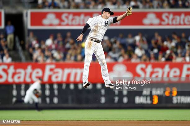 Tyler Wade of the New York Yankees attempts to make a catch during the game against the Cincinnati Reds at Yankee Stadium on Tuesday July 2017 in the...