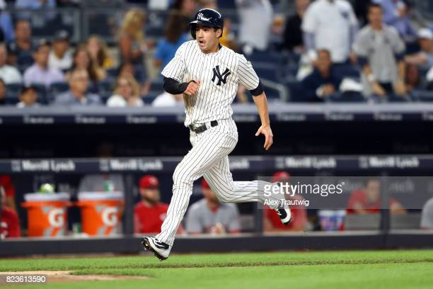 Tyler Wade of the New York Yankees rounds third base to score during the game against the Cincinnati Reds at Yankee Stadium on Tuesday July 2017 in...