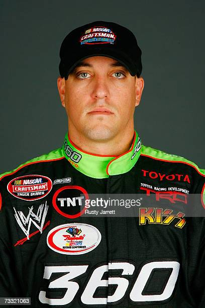 Tyler Walker driver of the 360 OTC Toyota poses during NASCAR Craftsman Truck Series media day at Daytona International Speedway on February 14 2007...