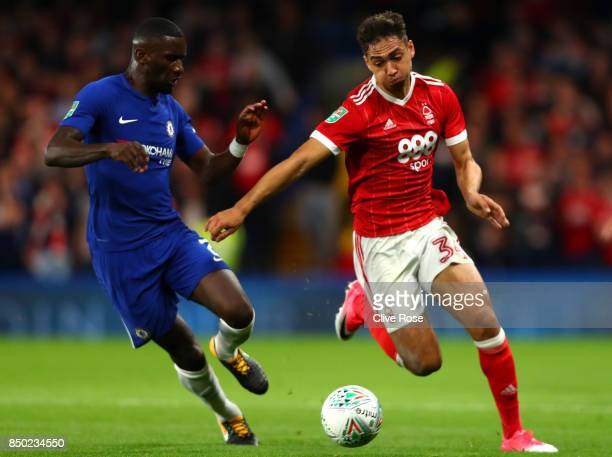 Tyler Walker of Nottingham Forest attempts to get past Antonio Rudiger of Chelsea during the Carabao Cup Third Round match between Chelsea and...