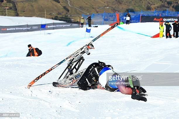 Tyler Walker of the United States crashes in the Men Giant Slalom Sitting LW121 in the IPC Alpine Adaptive Giant Slalom Southern Hemisphere Cup...