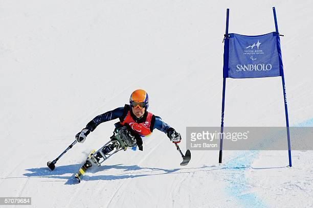 Tyler Walker of the United States of America competes in the Men's Super G Sitting during Day Four of the Turin 2006 Winter Paralympic Games on March...