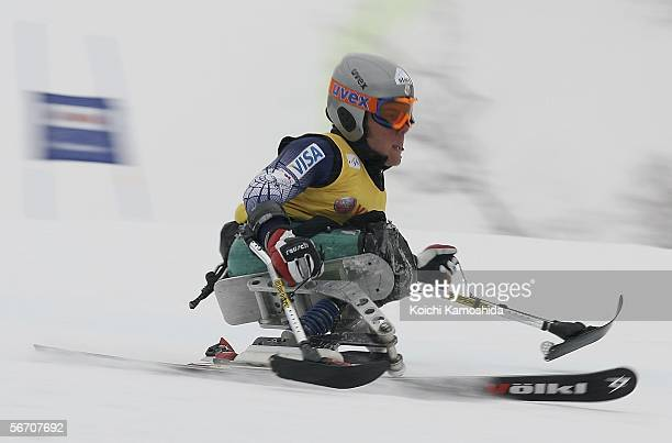 Tyler Walker of the USA in action during the Sitting skiers male Giant Slalom of the IPC World Cup Alpine Skiing for Disabled 2006 Shigakogen on...