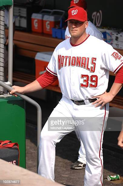 Tyler Walker of the Washington Nationals looks on before a baseball game against the Kansas City Royals on June 23 2010 at Nationals Park in...