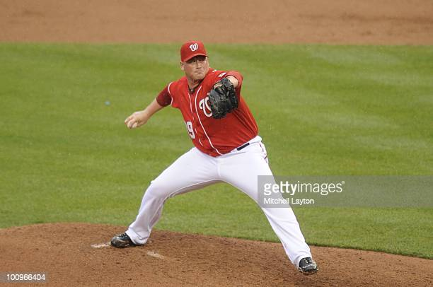 Tyler Walker of the Washington Nationals pitches during a baseball game against the Baltimore Orioles on May 22 2010 at Nationals Park in Washington...