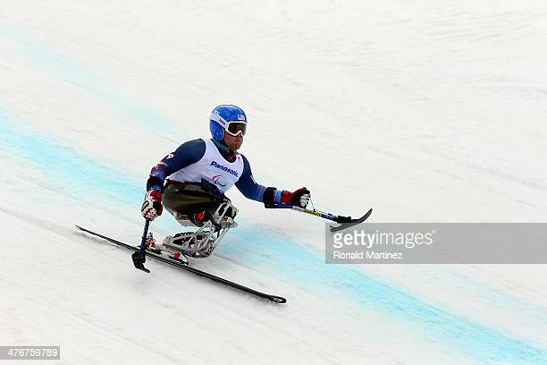 Tyler Walker of USA trains in the Men's Downhill Sitting Ski event at Rosa Khutor Alpine Center on March 5 2014 ahead of the 2014 Paralympic Winter...