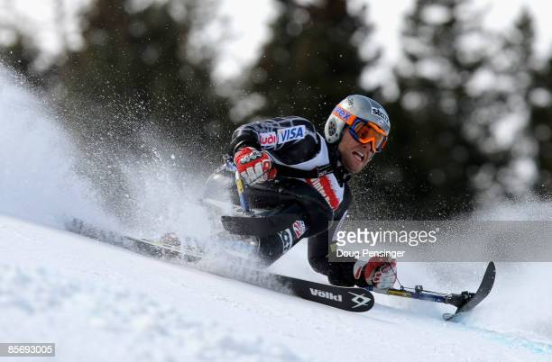 Tyler Walker skis to third place in the Men's Sitting Skier Giant Slalom at the 2009 US Adaptive Alpine Nationals at the Winter Park Resort on March...