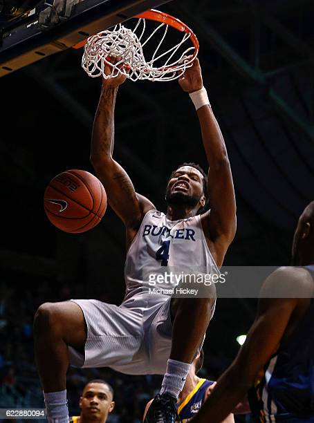 Tyler Wideman of the Butler Bulldogs dunks the ball against the Northern Colorado Bears at Hinkle Fieldhouse on November 12 2016 in Indianapolis...