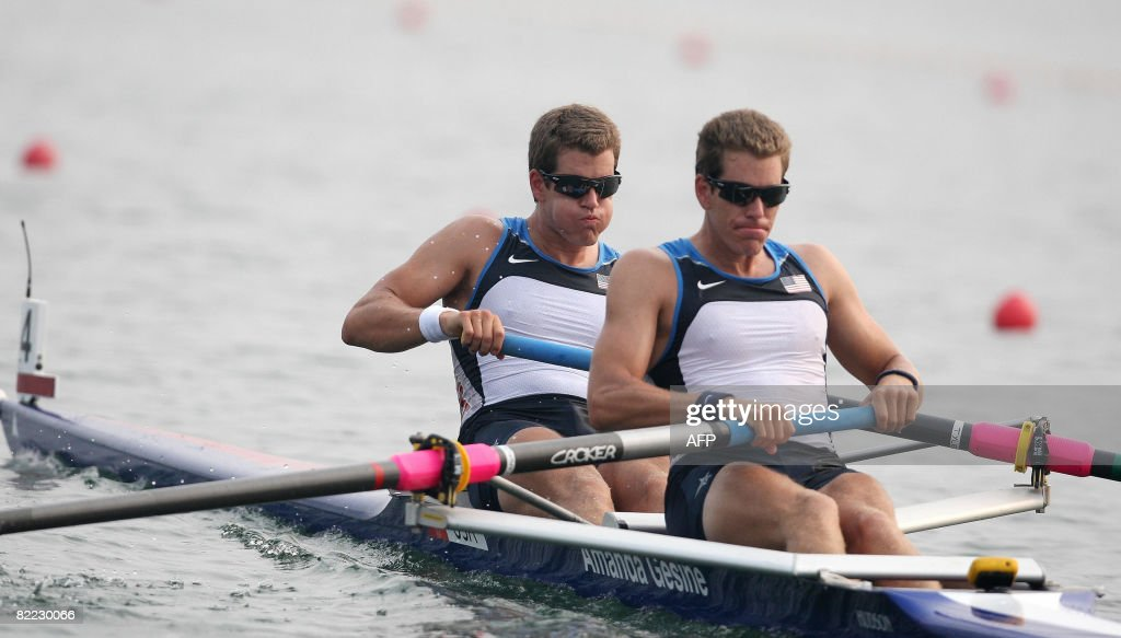 Tyler Winklevoss and Cameron Winklevoss of the USA compete in the Men's pair heat 1 event at the Shunyi Rowing and Canoeing Park in Beijing on August 9,2008. AFP PHOTO/ Manan VATSYAYANA