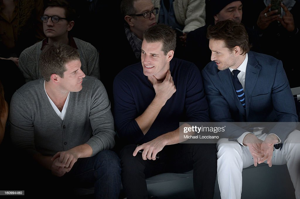 Tyler Winklevoss, Cameron Winklevoss, and actor <a gi-track='captionPersonalityLinkClicked' href=/galleries/search?phrase=Peter+Facinelli&family=editorial&specificpeople=233464 ng-click='$event.stopPropagation()'>Peter Facinelli</a> attend the Nautica Men's Fall 2013 fashion show during Mercedes-Benz Fashion Week at The Stage at Lincoln Center on February 8, 2013 in New York City.