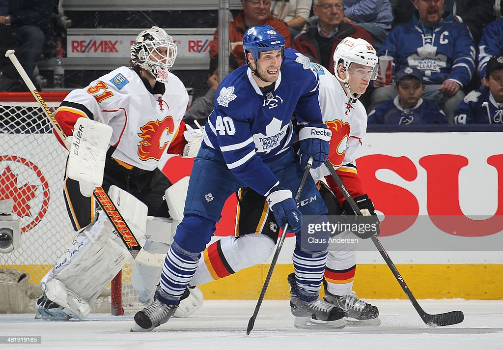 Tyler Wotherspoon #56 of the Calgary Flames holds Troy Bodie #40 of the Toronto Maple Leafs in check during an NHL game at the Air Canada Centre on April 1, 2014 in Toronto, Ontario, Canada. The Leafs defeated the Flames 3-2.
