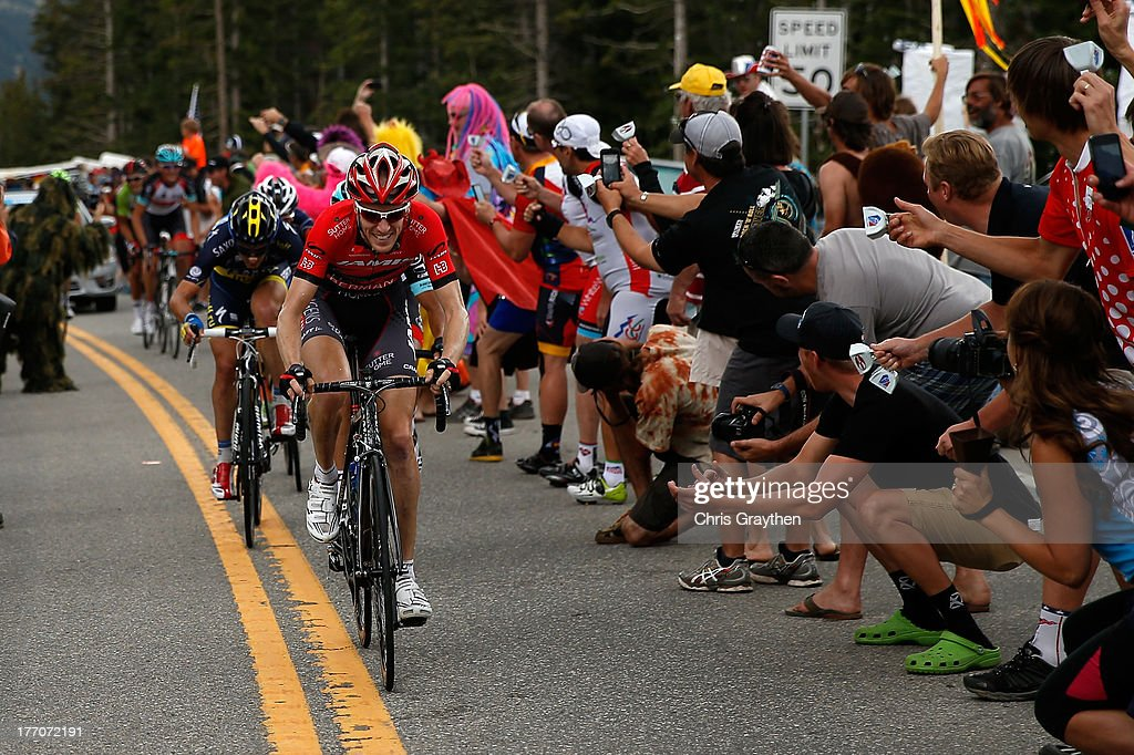 Tyler Wren of the United States and team Jelly Belly p/b Kenda leads a small group over Hoosier Pass during stage two of the 2013 USA Pro Cycling Challenge on August 20, 2013 in Breckenridge, Colorado.