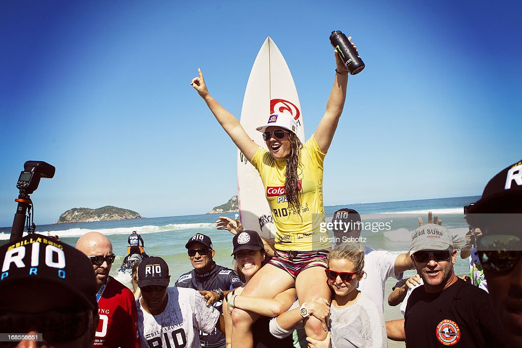 <a gi-track='captionPersonalityLinkClicked' href=/galleries/search?phrase=Tyler+Wright&family=editorial&specificpeople=212765 ng-click='$event.stopPropagation()'>Tyler Wright</a> of Australia celebrates her victory at the Colgate Plax Girls Pro on May 11, 2013 in Rio de Janeiro, Brazil.