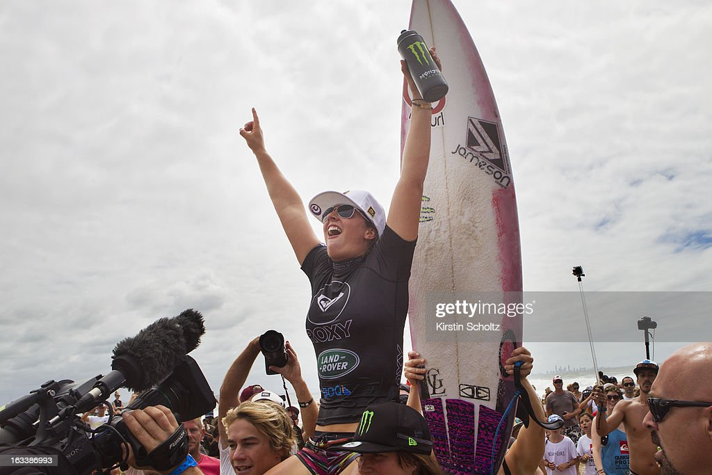 Tyler WRight of Australia celebrates her victory at the Roxy Pro on March 9, 2013 in Gold Coast, Australia.