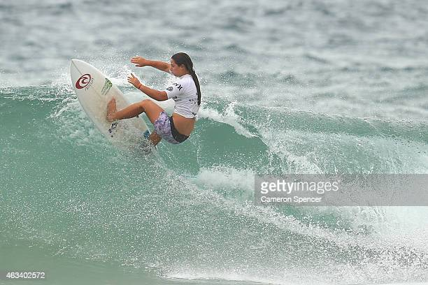 Tyler Wright of Australia competes during the women's heats of the Australian Open of Surfing on February 14 2015 in Sydney Australia
