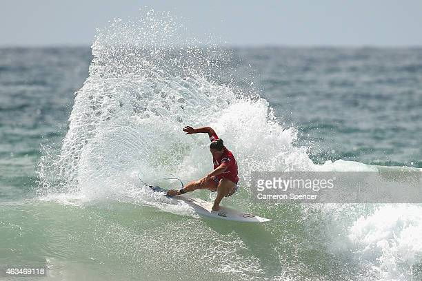 Tyler Wright of Australia competes in the Women's semifinal during the Australian Open of Surfing on February 15 2015 in Sydney Australia