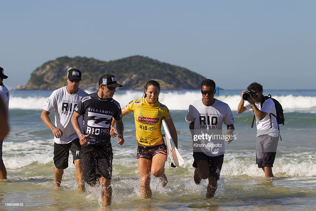 Tyler WRight of Australia runs out of the surf on May 11, 2013 in Rio de Janeiro, Brazil.