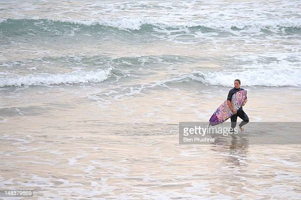 Tyler Wright paddles out at The Roxy Pro Biarritz 2012 on July 12 2012 in Biarritz France