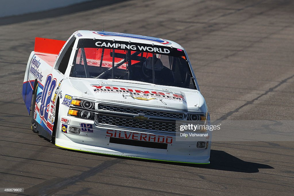 Tyler Young #02 drives the Randco/Youngs Building Systems Chevrolet during practice for the NASCAR Camping World Truck Series Drivin' for Linemen 200 at Gateway Motorsports Park on June 13, 2014 in Madison, Illinois.