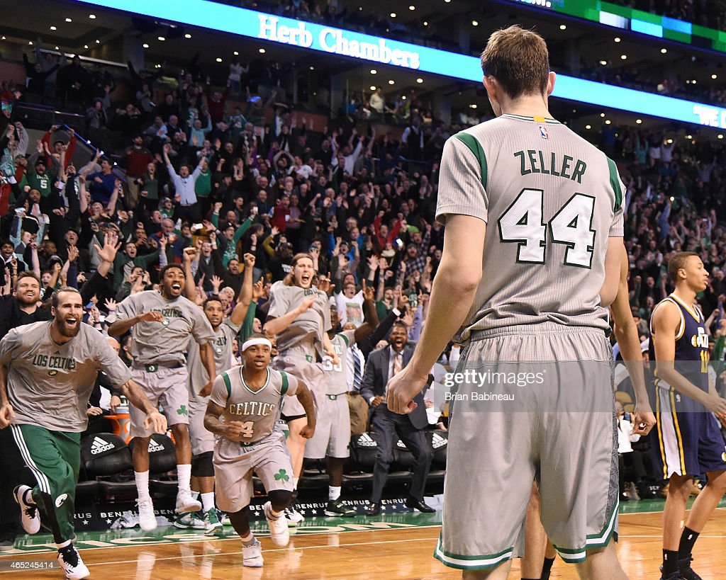 <a gi-track='captionPersonalityLinkClicked' href=/galleries/search?phrase=Tyler+Zeller&family=editorial&specificpeople=5122156 ng-click='$event.stopPropagation()'>Tyler Zeller</a> #44 of the Boston Celtics celebrates after hitting the game winning shot against the Utah Jazz on March 4, 2015 at TD Garden in Boston, Massachusetts.