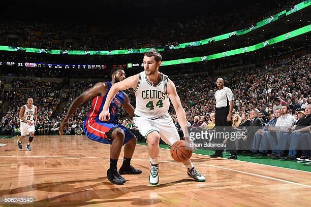Tyler Zeller of the Boston Celtics handles the ball against the Detroit Pistons on February 3 2016 at the TD Garden in Boston Massachusetts NOTE TO...