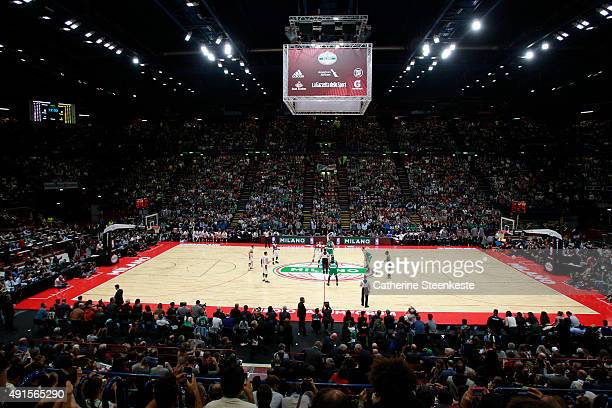 Tyler Zeller of the Boston Celtics jumpball against Emporio Armani Milano as part of the 2015 Global Games on October 6 2015 at the Mediolanum Forum...