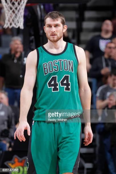Tyler Zeller of the Boston Celtics looks on during the game against the Sacramento Kings on February 8 2017 at Golden 1 Center in Sacramento...