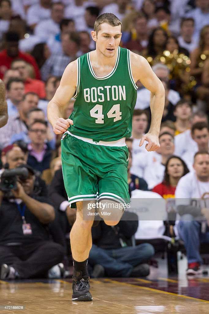 Tyler Zeller of the Boston Celtics runs down the court in the first half against the Cleveland Cavaliers during Game Two in the Eastern Conference...