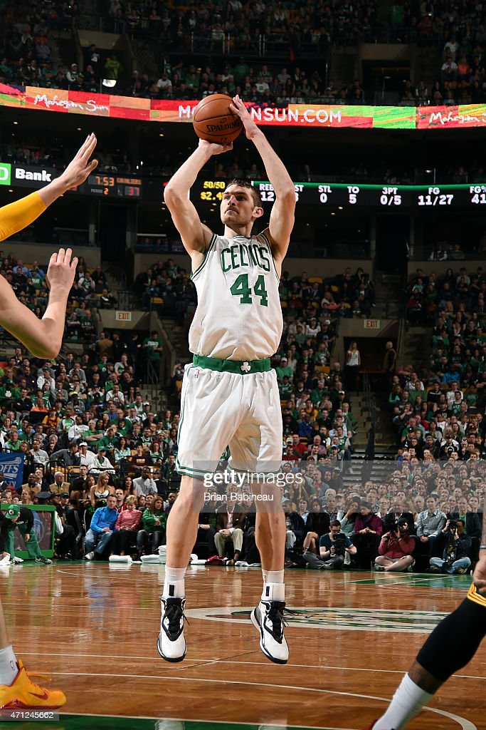 Tyler Zeller of the Boston Celtics shoots against the Cleveland Cavaliers in Game Four of the Eastern Conference Quarterfinals during the 2015 NBA...