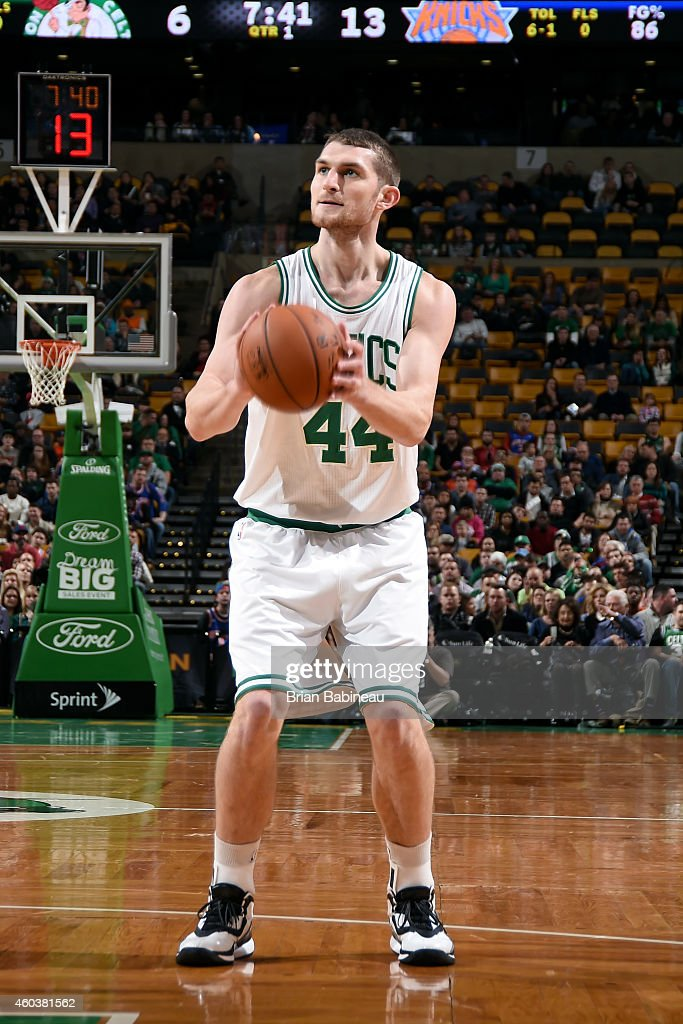 <a gi-track='captionPersonalityLinkClicked' href=/galleries/search?phrase=Tyler+Zeller&family=editorial&specificpeople=5122156 ng-click='$event.stopPropagation()'>Tyler Zeller</a> #44 of the Boston Celtics shoots against the New York Knicks on December 12, 2014 at the TD Garden in Boston, Massachusetts.