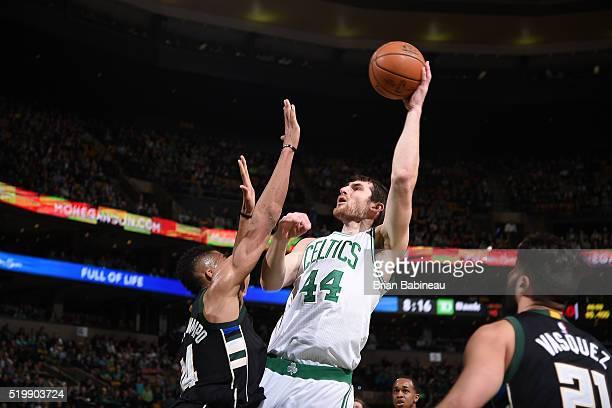 Tyler Zeller of the Boston Celtics shoots the ball against the Milwaukee Bucks on April 8 2016 at the TD Garden in Boston Massachusetts NOTE TO USER...