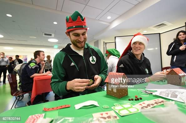 Tyler Zeller of the Boston Celtics spreads holiday cheer duing a children's hospital visit on December 1 2016 at Boston Children's Hospital in Boston...