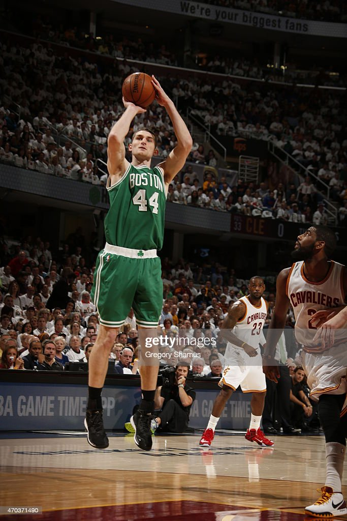 Tyler Zeller of the Boston Celtics takes a shot against the Cleveland Cavaliers during Game One of the Eastern Conference Quarterfinals of the NBA...