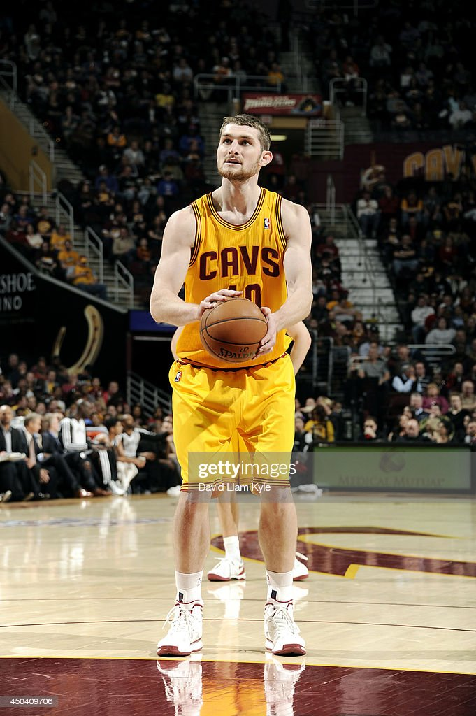 <a gi-track='captionPersonalityLinkClicked' href=/galleries/search?phrase=Tyler+Zeller&family=editorial&specificpeople=5122156 ng-click='$event.stopPropagation()'>Tyler Zeller</a> #40 of the Cleveland Cavaliers attempts a free throw against the Brooklyn Nets at The Quicken Loans Arena on April 16, 2014 in Cleveland, Ohio.