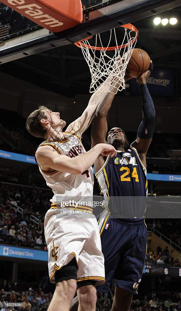 Tyler Zeller #40 of the Cleveland Cavaliers blocks a shot attempt by Paul Millsap #24 of the Utah Jazz at The Quicken Loans Arena on March 6, 2013 in Cleveland, Ohio.