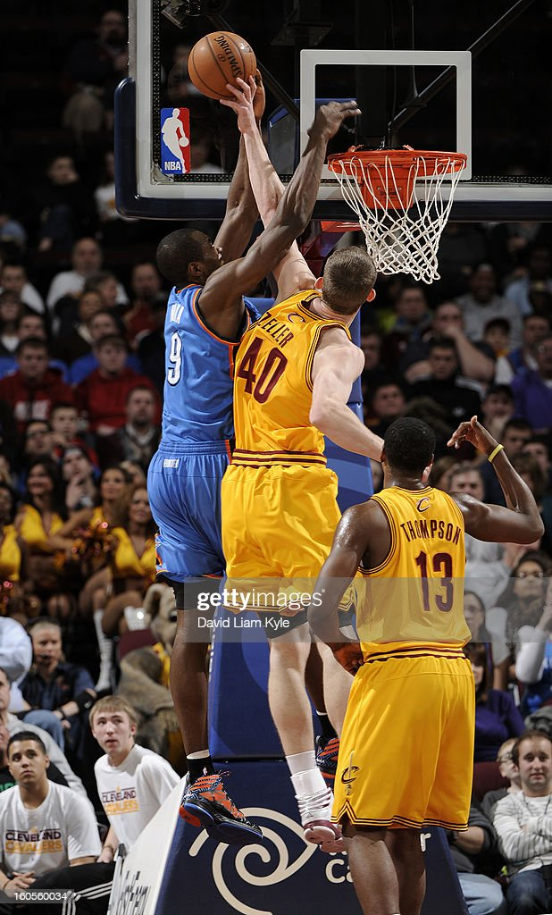 Tyler Zeller #40 of the Cleveland Cavaliers blocks a shot attempted by Serge Ibaka #9 of the Oklahoma City Thunder at The Quicken Loans Arena on February 2, 2013 in Cleveland, Ohio.