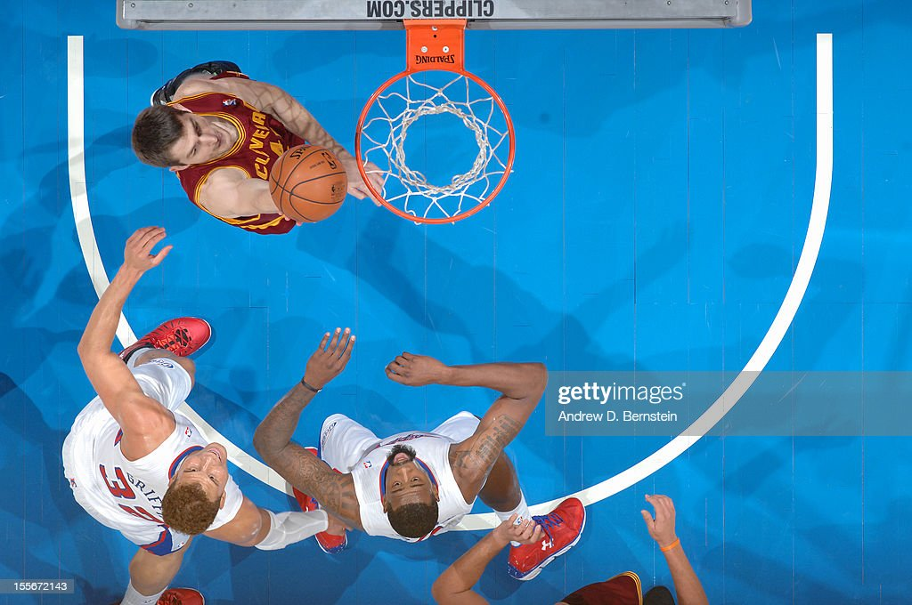 Tyler Zeller of the Cleveland Cavaliers drives to the basket against the Los Angeles Clippers at Staples Center on November 5 2012 in Los Angeles...