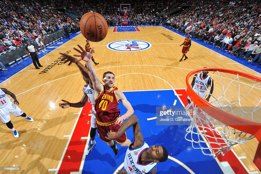Tyler Zeller #40 of the Cleveland Cavaliers drives to the basket against the Philadelphia 76ers at the Wells Fargo Center on November 18, 2012 in Philadelphia, Pennsylvania.