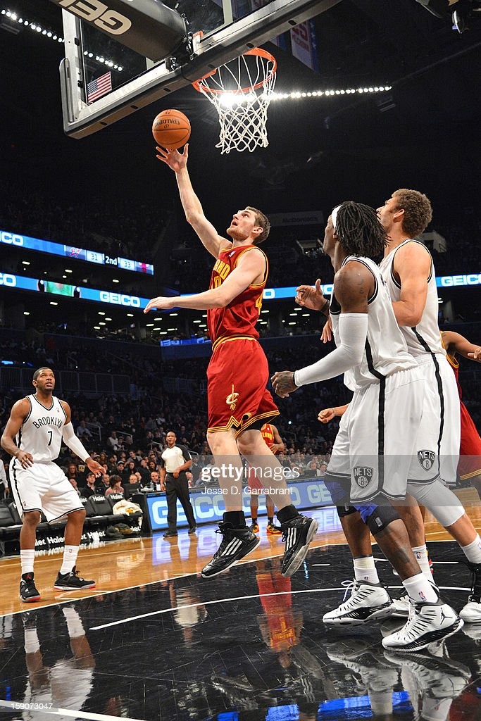 Tyler Zeller #40 of the Cleveland Cavaliers drives to the basket against the Brooklyn Nets at the Barclays Center on December 29, 2012 in Brooklyn, New York.
