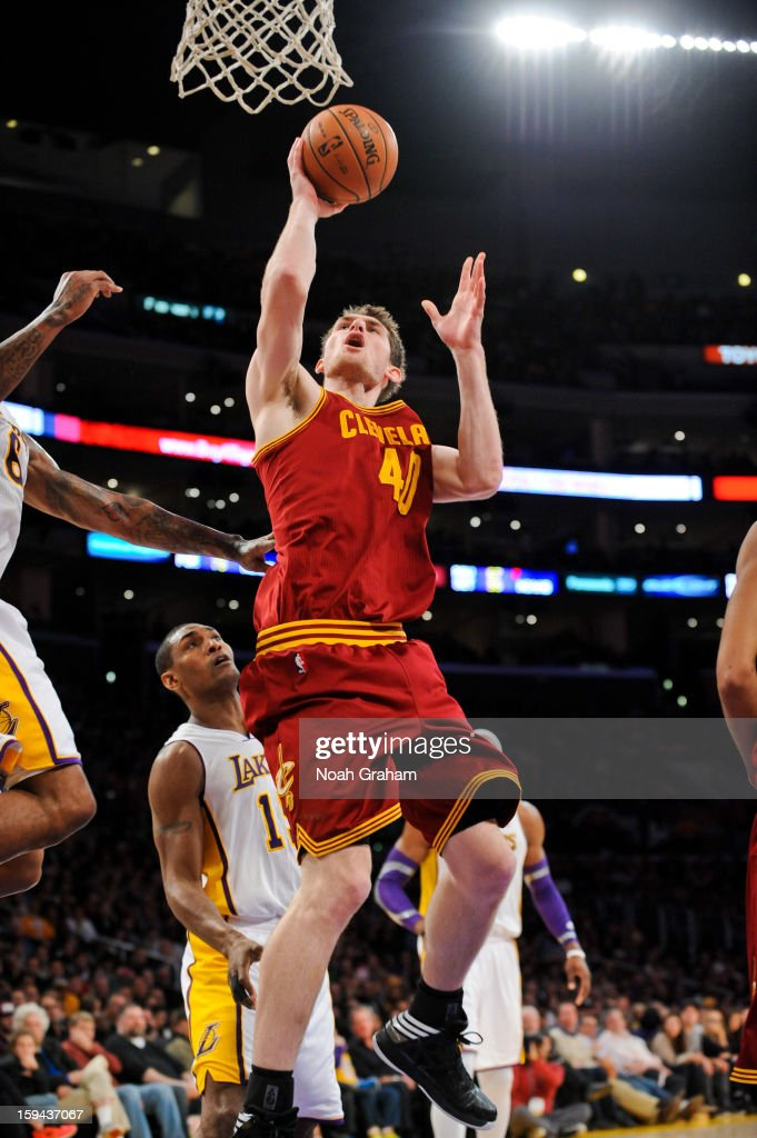 Tyler Zeller #40 of the Cleveland Cavaliers drives to the basket against the Los Angeles Lakers at Staples Center on January 13, 2013 in Los Angeles, California.