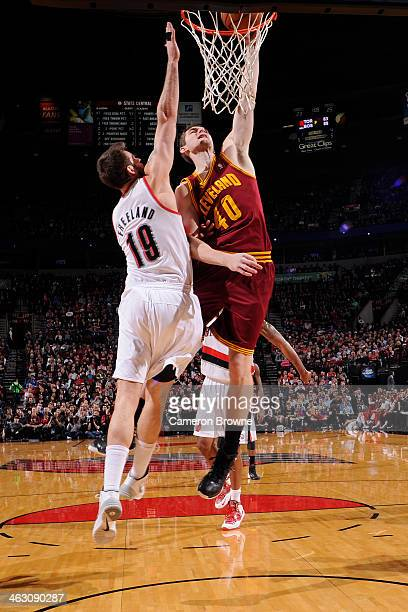 Tyler Zeller of the Cleveland Cavaliers dunks the ball against the Portland Trail Blazers on January 15 2014 at the Moda Center Arena in Portland...