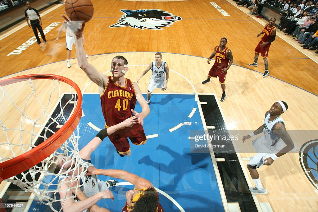 Tyler Zeller #40 of the Cleveland Cavaliers goes up for an easy layup against the Minnesota Timberwolves during the game on December 7, 2012 at Target Center in Minneapolis, Minnesota.