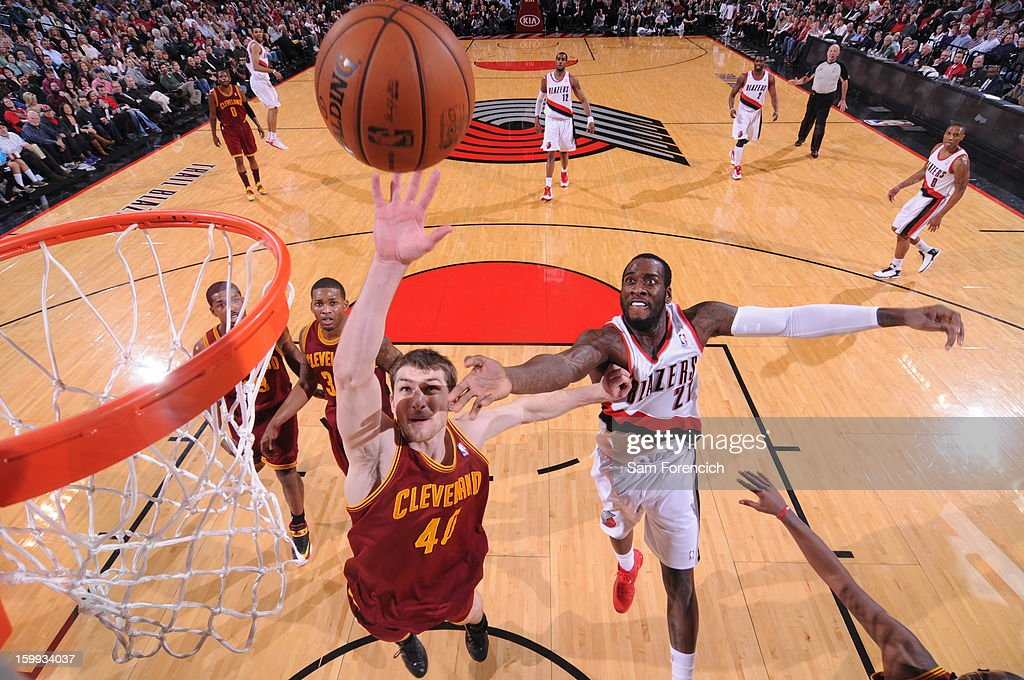 Tyler Zeller #40 of the Cleveland Cavaliers grabs a rebound against the Portland Trail Blazers on January 16, 2013 at the Rose Garden Arena in Portland, Oregon.
