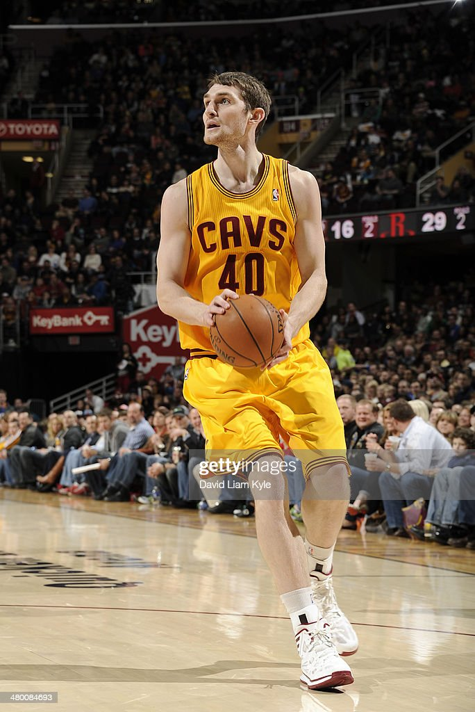 <a gi-track='captionPersonalityLinkClicked' href=/galleries/search?phrase=Tyler+Zeller&family=editorial&specificpeople=5122156 ng-click='$event.stopPropagation()'>Tyler Zeller</a> #40 of the Cleveland Cavaliers handles the ball against the Houston Rockets at The Quicken Loans Arena on March 22, 2014 in Cleveland, Ohio.